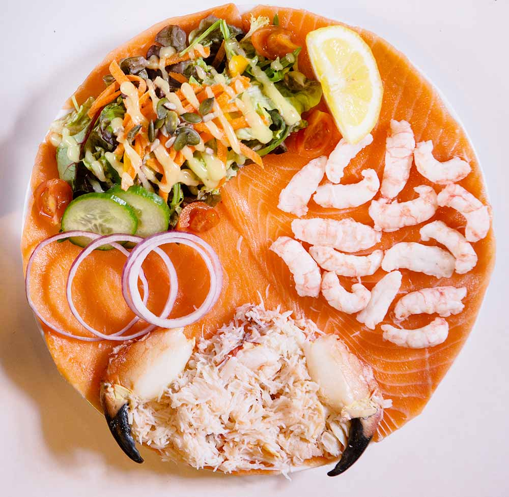 Crab meat, prawns, salad, and smoked salmon